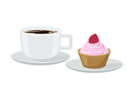 Coffee and Cupcake with Cream Vector Illustration