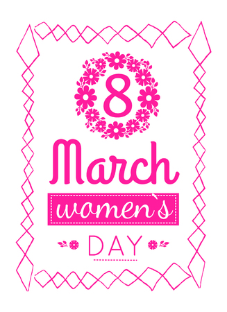 Womens March 8 Greeting Card Design Zigzag Frame Ilustrace
