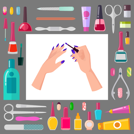 Female Hands with Manicure and Sharp Tools Set