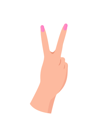 Female Hand in Piece Gesture with Pink Manicure Illustration