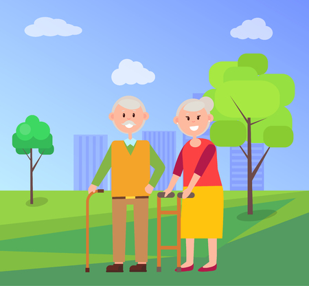 Grandparents Together on Walk at Park in Summer Stock Vector - 101964662