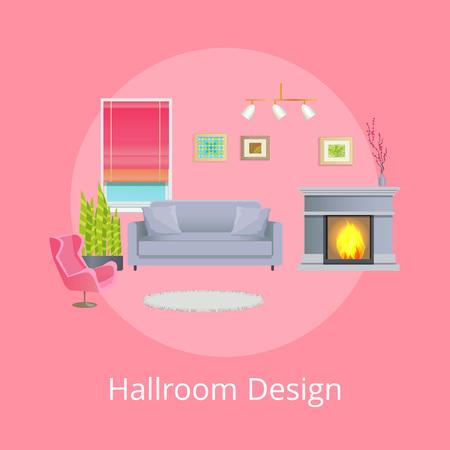 Hallroom Design Promo Poster with Modern Furniture