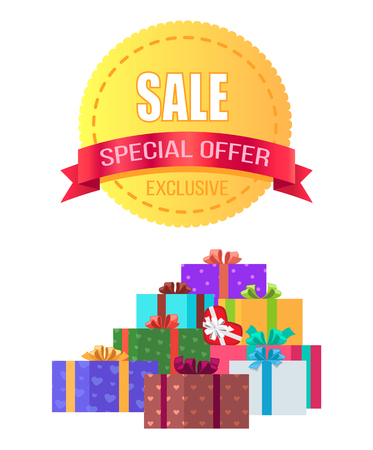 Exclusive Sale Special Offer Round Emblem Gift Box Vectores