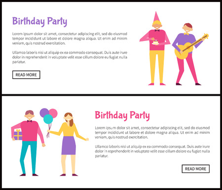 Birthday Party Posters Isolated on White Backdrop