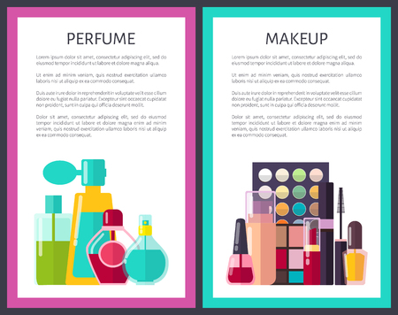 Pair of Makeup and Perfume Multicolored Cards 向量圖像