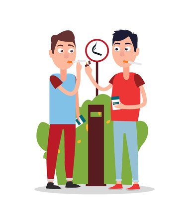 Two Young Smoking Men Color Vector Illustration