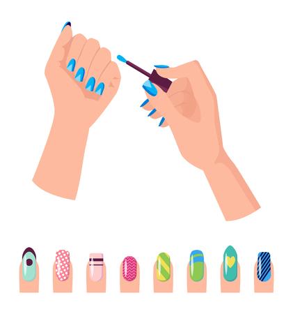 Hands and Nail Polish Banner Vector Illustration
