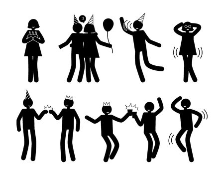 People at Party in Happy Poses White Silhouettes