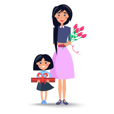 Mom and Daughter Congratulations on Women s Day