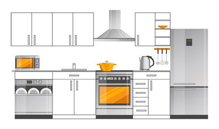 Kitchen Interior Design Template with Appliances Çizim