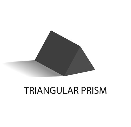 Triangular Prism Geometric Figure in Black Color