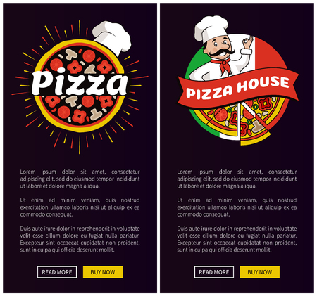 Pizza House Collection Web Vector Illustration Иллюстрация