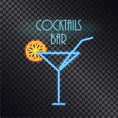 Coktails Bar Neon Poster Color Vector Illustration Banque d'images - 101964905