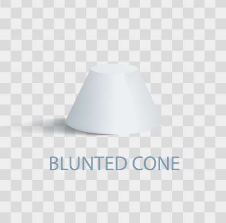 Blunted Cone Isolated Geometric Figure in White