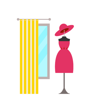 Clothing Store and Dress, Hat Vector Illustration