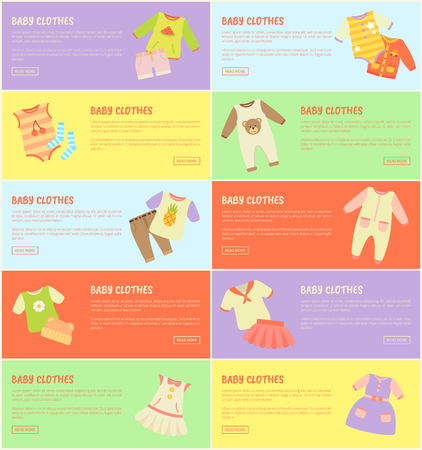 Baby Clothes Set of Colorful Vector Illustrations