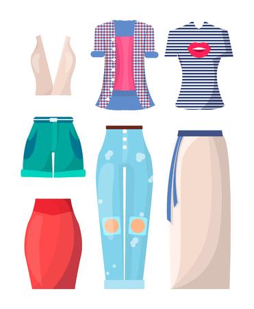 Clothing Summer Mode Posters Vector Illustration Illustration