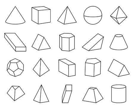 Cone and Pyramid Shapes Set Vector Illustration Ilustração