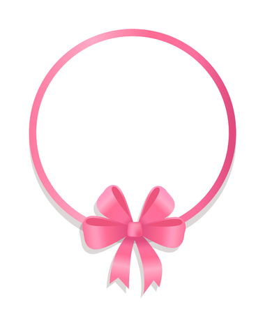 Round Pink Border Decorated by Silk Bow Vector