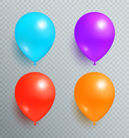 Set Flying Balloons of Blue Purple Red and Orange Illustration
