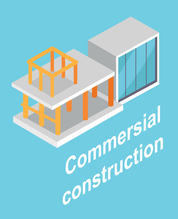 Commersial Construction , Building Layout Poster Illustration