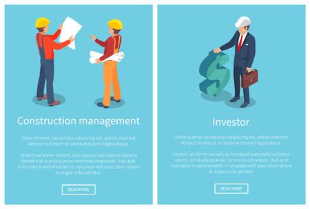 Construction Management Page Vector Illustration