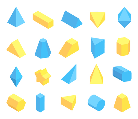 Lot of Blue and Yellow Geometric Figures Poster