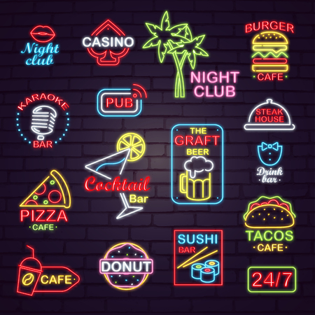 Neon Street Signboards for Night Clubs and Cafes