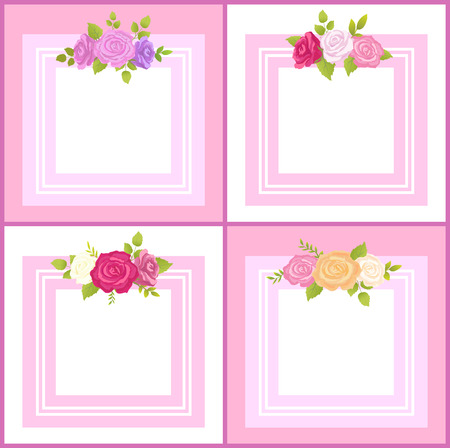 Four Frames with Decorative Flowers Color Banner Illustration