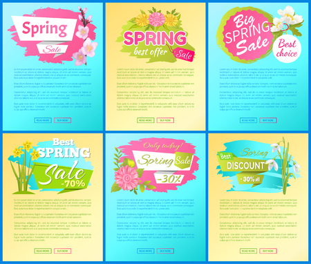 Best Offer Spring Big Sale Advertisement Pages Set Çizim