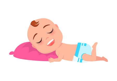 Baby Infant in Diaper Sleeps on Pink Pillow Vector Archivio Fotografico - 101965072