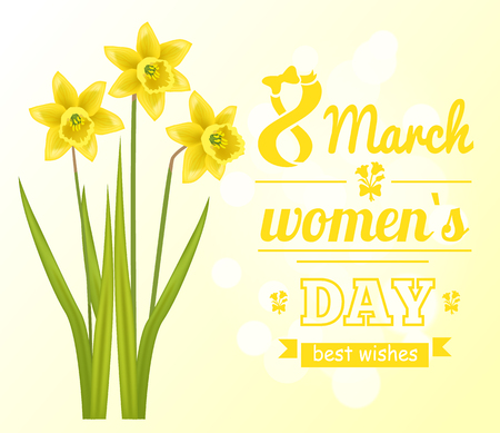 8 March Womens Day Poster Best Wish Greeting Card