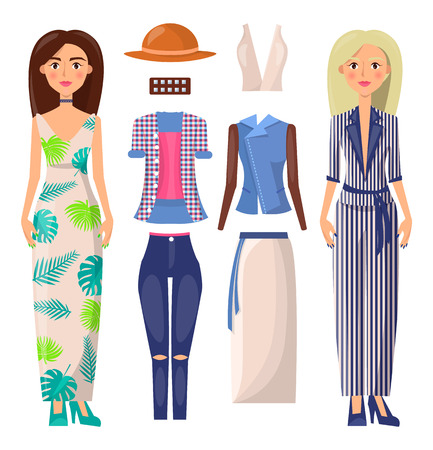 Women and Clothing Set Vector Banner Illustration