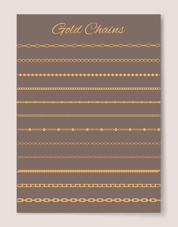 Gold Chains Collection Poster Vector Illustration