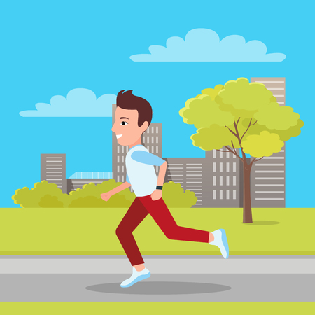 Man Jogging at City Park, Vector Illustration