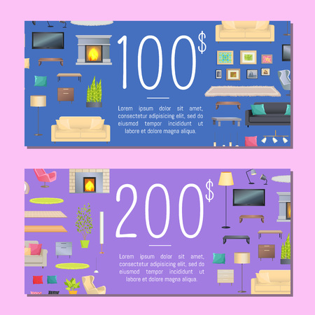 100 and 200 Dollars Coupon Set Vector Illustration