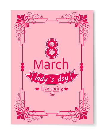 8 March Womens Day Best Wish Postcard Swirly Frame