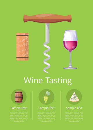 Wine Tasting Promotional Poster with Corkscrew