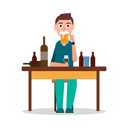Man Sitting by Table with Lot of Alcohol Drinks