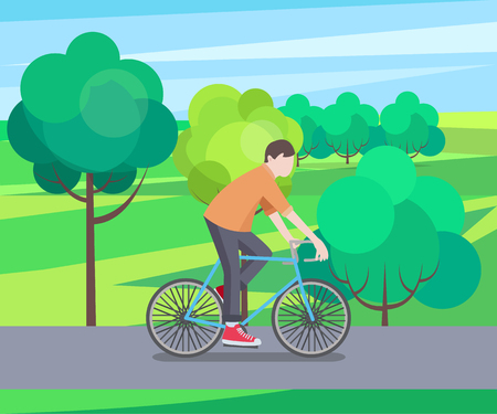 Green Park and Biking Man Vector Illustration Stock Illustratie