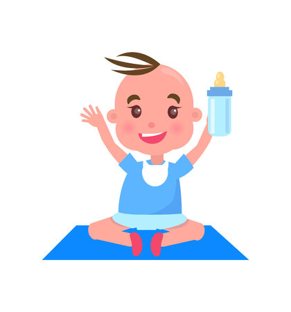 Child with Bottle on Mat, Vector Illustration