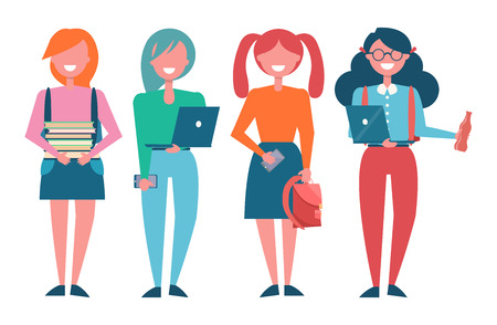 Female Students with Books and Modern Laptops Illustration