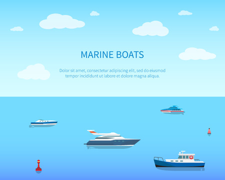 Marine Boats Bright Color Card Vector Illustration