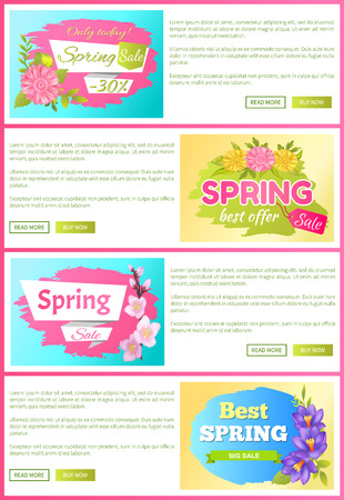 Spring Sale Best Offer Set Vector Illustration 向量圖像