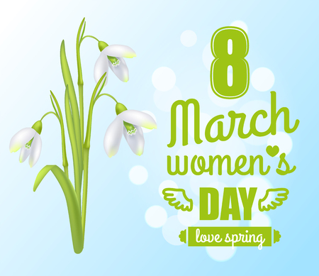 8 March Womens Day Poster Vector Illustration Illustration