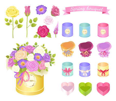 Spring Bouquet Collection Vector Illustration Illustration