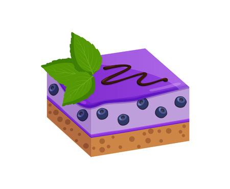 Piece of Fruit Cake with Blueberry Glaze Layer Illustration