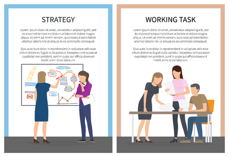 Strategy Office Work Set of Posters with Workers Banque d'images - 101965419