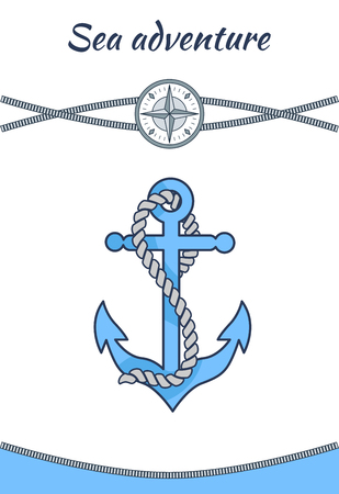 Sea Adventure Banner, Big Blue Anchor Vector Image