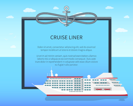 Cruise Liner Colorful Banner Vector Illustration